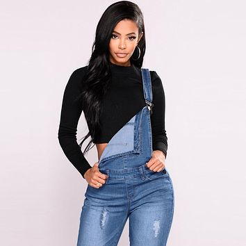 2019 New Women Denim Overalls Ripped Stretch Dungarees High Waist Long Jeans Pencil Pants Rompers Jumpsuit Blue Jeans Playsuit