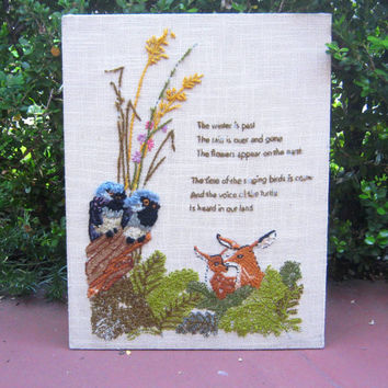 1970s Vintage Needlepoint Picture of Deer, Birds & Song of Solomon 2:12 Quote - Natural Biblical Decor; Greenery with Birds and Deer