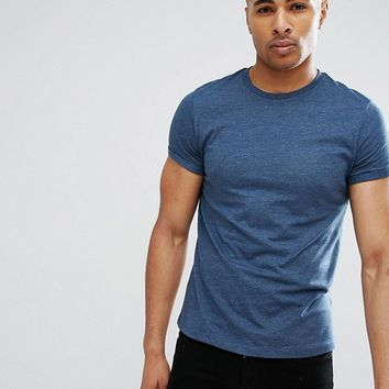 ASOS Crew Neck T-Shirt With Roll Sleeve In Blue Marl at asos.com