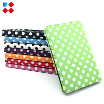 Full body Polka Dots Rotating Swivel Stand Smart Case Cover Smartcover Slim PU Leather for iPad 2 3 4