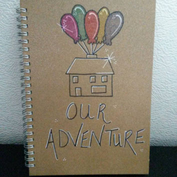 Hand drawn our adventure book, our plans, journal note pad, writing pad, Hand painted, Hand Drawn, Personlised, handmade glitter finish