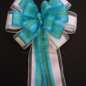Aqua Turquoise Blue Green Wedding Bow Blue Green Themed Decoration Wedding Arches Church Pew Bow Blue White shower Gifts Bow