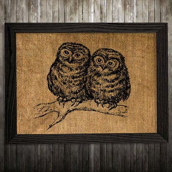 Owl decor Bird poster Animal print Burlap print BLP373