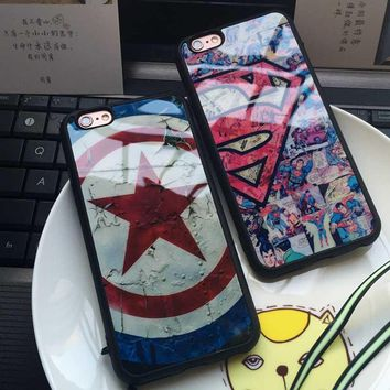Case For iPhone 8 7 6 6s Plus 5 5S SE Soft Silicon Phone Cover Superman Super man Captain America phone cases shell Coque Fundas