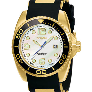 Invicta 0996 Men's Reserve Gold Plated MOP Dial Black Rubber Strap Watch