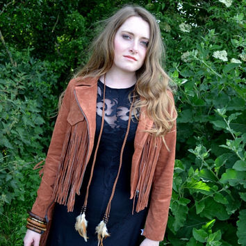 Natural fall autumn crystal feather necklace, Boho, Chic