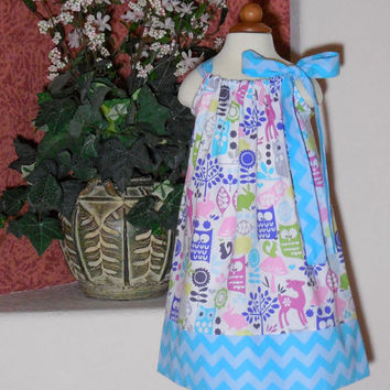 Toddler Girl Pillowcase Dress  Owls Chevron Deer Aqua Stars Chevron  3 mo 6 mo 9 mo 12 mo 18 mo 24 mo 2T 3T 4T