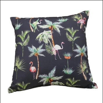 Flamingo Palms Cushion Cover