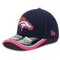 Mens Denver Broncos New Era Navy Blue Breast Cancer Awareness 2014 On Field 39THIRTY Flex Hat