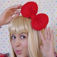 Big Red HEADBAND Bow Red Hair Bow Poofy Bow Cosplay bow Lolita hair bow Kawaii bow headband halloween costume bow women teens girls hair bow