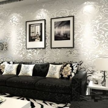 QIHANG High-grade Flocking Victorian Damask/embossed Wallpaper Roll Silver and Gray Color 0.53m*10m=5.3sqm