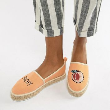 ASOS DESIGN Joellie Peachy Novelty Espadrilles at asos.com