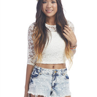 Sheer Lace 3/4-Sleeve Tee | Wet Seal