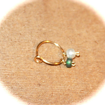 14k Gold Filled Cartilage Hoop Earring, Green&White Pearl Beaded Hoop, Ear Cuff, Helix Hoop, Nose Rings, Piercing Jewelry