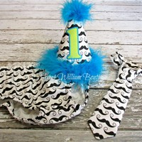 Mustache 1st Birthday Cake Smash Outfit - black & white, green and turquoise