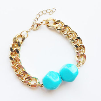 Chunky Chain Bracelet with 2 teal bead - 24k gold plated