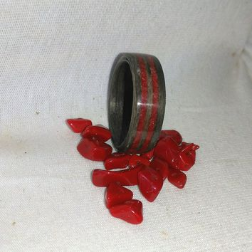 Gray Ebony and Ruby Red Stone double inlay bent wood ring