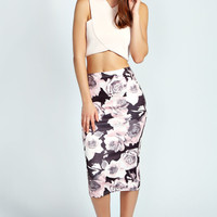 Reese Rose Print Midi Bodycon Skirt
