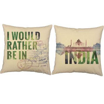 Rather Be in India Throw Pillows