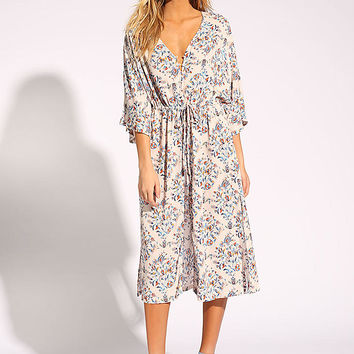 Multi Button Down Slit Floral Midi Dress