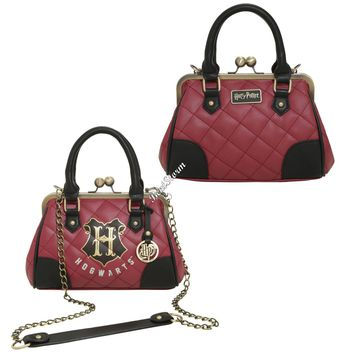 Licensed cool Harry Potter Hogwarts Crest Quilted Burgundy Kisslock Satchel Hand Bag Purse NEW