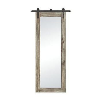 Large Wood Barn Door Mirror