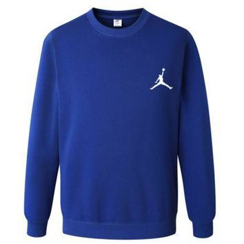 ONETOW Jordan Basketball Hooded Sports Casual Sleeve Shirt Blue