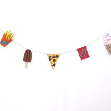 Junk Food felt party banner, 90s banner, wasted youth decor with fries, fudge pop, sup