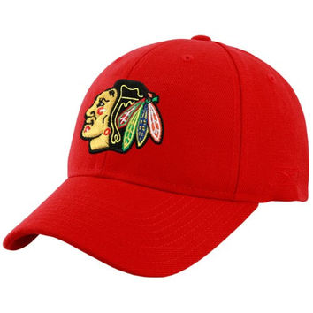 Reebok Chicago Blackhawks Red Basic Logo Wool Blend Adjustable Hat
