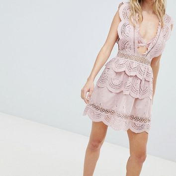 PrettyLittleThing Crochet Lace Plunge Swing Dress at asos.com