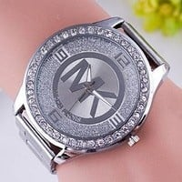 MK MICHAEL KORS Fashion Women Men Movement Watch Lovers Wrist Watch Silvery I12597-1