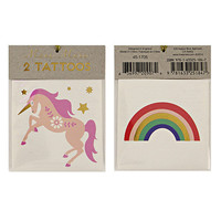2 TEMPORARY TATTOO, Rainbow, unicorn tattoo, flash tattoo, rainbow tattoo, metallic tattoo,  fake tattoo, party favor