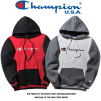 Teh New Color Blocking Champion Embroidery Hoodies Sweater Pullover