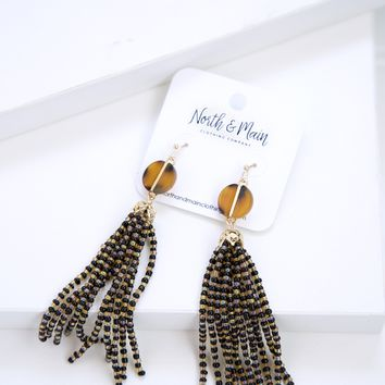 Lola Beaded Tassel Earrings, Black