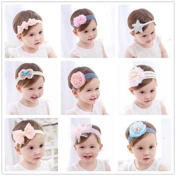 Flower Bows Cute Baby Girl Child Infant Toddler Head Wraps Bandana Headband