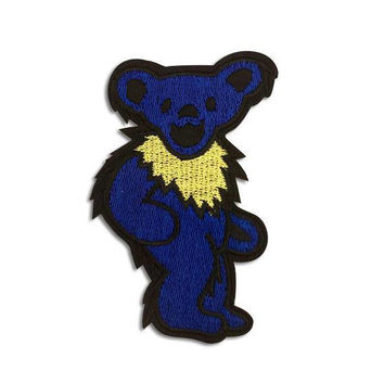 GRATEFUL DEAD PATCH - Blue, Dancing Bear, Iron On, Handmade, Vintage, Embroidered, Patches, Jerry Garcia, Rare, The Dead, Gift Idea