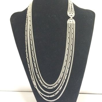 1970s Monet Multi Strand Chain Necklace, Silver Tone, Decorative Clasp, Signed, Summer Fun, Vintage Jewelry 618m