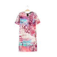 Pink Printed Zipper-Back Short-Sleeve Shift Dress
