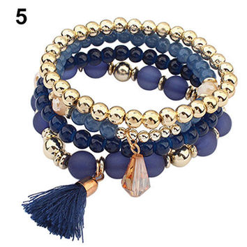 4Pcs/Set Girl Lady Startling Ethnic Multilayer Resin Beads Tassels Cuff Statement Bracelet