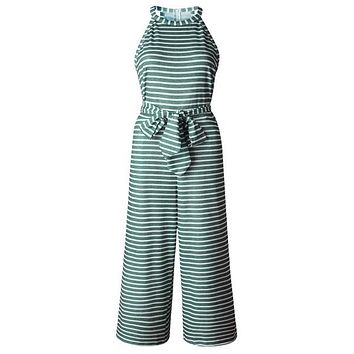 Striped Jumpsuit with Belt - Green
