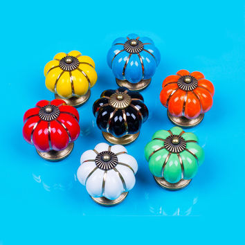 Lovely Cute Rural Ceramic and zinc Alloy Drawer Cabinet Cupboard Door Knob Furniture Handle