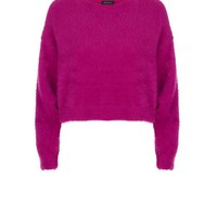 Purple Fluffy Cropped Jumper | New Look