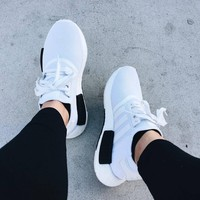 adidas nmd white black casual running sport sneakers shoes