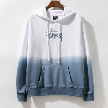 Stussy Newest Women Men Casual Print Color Matching Long Sleeve Hoodie Sweater Sweatshirt White&Blue