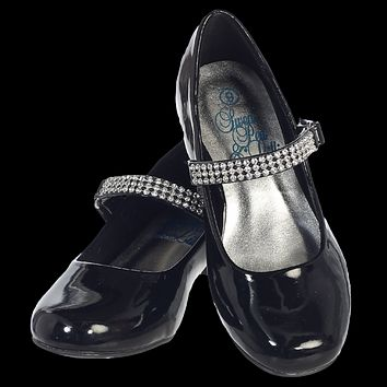 Black Short Heel Dress Shoes with Rhinestone Top Strap (Toddler & Girls Sizes)