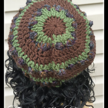 New Bubble Women Beret in green and brown - Winter crochet hat - Crochet Beret hat - Handmade crochet - Adult size