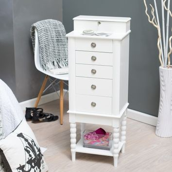 Layla Locking Jewelry Armoire with Valet Box - High Gloss White | www.hayneedle.com