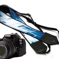 Abstract design camerea strap. Blue Camera strap.  DSLR Camera Strap. Camera accessories. Nikon  Canon camera strap.