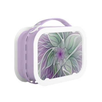 Flower Dream, Abstract Purple Green Fractal Art Lunch Box