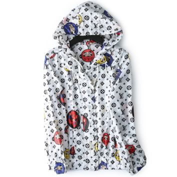 LV Fashion New Monogram Print Sun Protection Clothing Leisure Women Hooded Windbreaker Long Sleeve Top Coat White